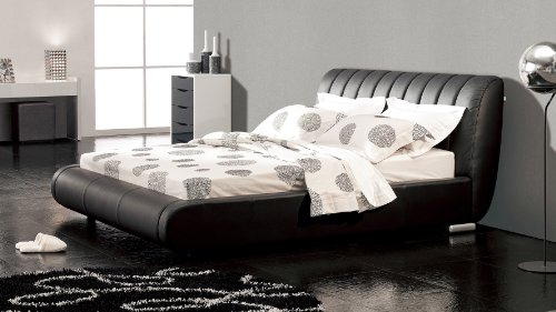 Dior Leather Contemporary Platform Cal King Bed- Black - Leather Cal King Bed