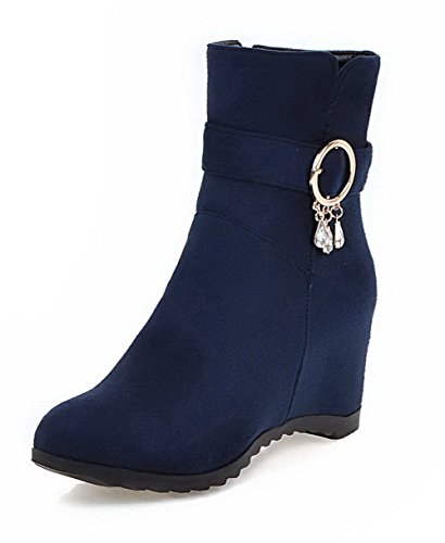 Low Frosted Women's Solid Zipper Top WeiPoot Heels Boots High Blue fAxIn7q6