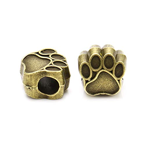 JETEHO 100Pcs Dog Paw Charm Big Hole Loose Spacer Bead for European Bracelet Jewelry Findings Gifts, Antique Bronze