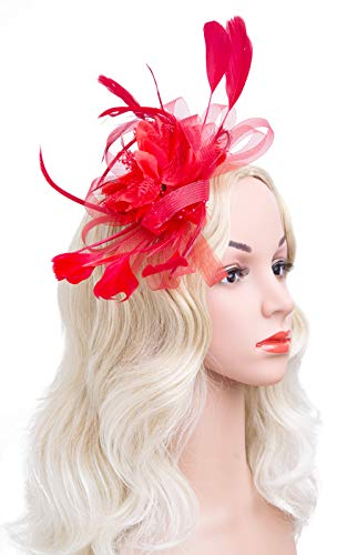 CizoeCizoe Flower Cocktail Tea Party Headwear Feather Fascinators Top Hat for Girls and Women(red)