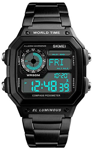 Men's Luxury Digital Waterproof Wrist Watches Multi-Function Pedometer Calories Compass World Time Countdown Stopwatch Sports Watch (Black)