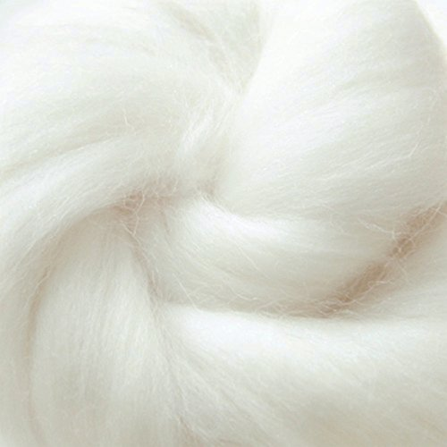 QICI 200g/7 oz Natural White Wool Roving Fiber Spin For Needle Felting Hand Spinning DIY