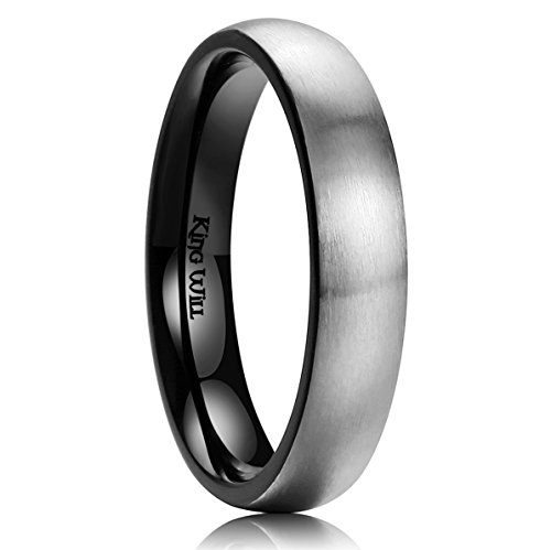 Rings 7mm Domed Wedding Band - King Will Basic 4mm Titanium Ring Brushed/Matte Comfort Fit Domed Wedding Band for Men 10