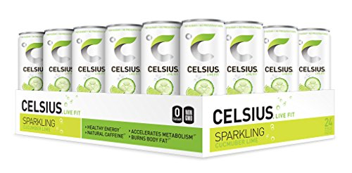 CELSIUS - Sweetened with Stevia - Sparkling Cucumber Lime Fitness Drink, ZERO Sugar, 12oz. Slim Can, 24 Pack ()