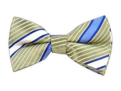 100% Silk Woven Slate Blue Digg Striped Self-Tie Bow (Silk Striped Bowties)