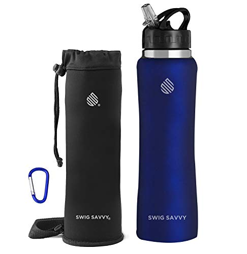 SWIG SAVVY Stainless Steel Water Bottle - with Straw Cap, Vacuum Insulated Double Wall & Wide Mouth Design - Reusable Sports Drinking Container with Carrying Sleeve Pouch (Blue, 32 oz) ()