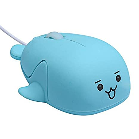 Geetobby Cute Animal Dolphin USB Wired Mouse 1200DPI Optical Mice Mini Small Children for Computer
