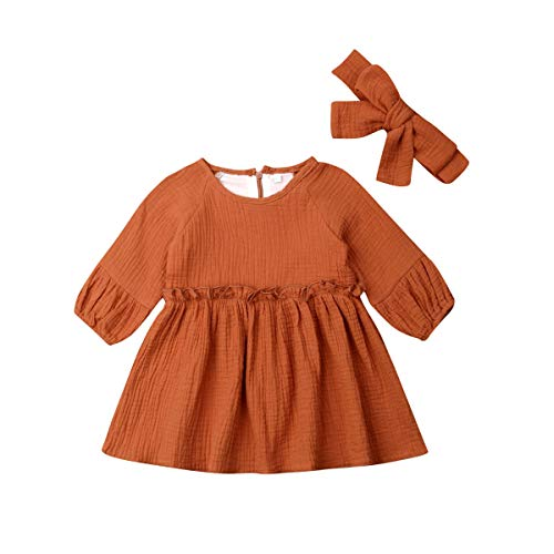 xujunyang Toddler Girls Dress Clothes Long Sleeve Ruffled Cotton Line Skirt with Headband Outfits Playwear Dresses 1-4T (18-24Months) Brown