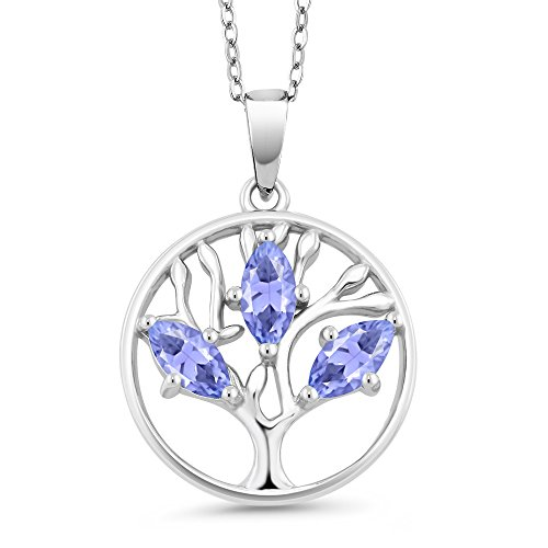 0.75 Ct Marquise Blue Tanzanite 925 Sterling Silver Tree of Life Pendant With Chain