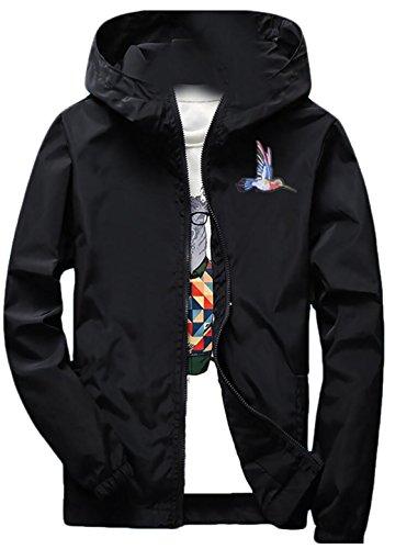Gocgt Men's Stylish Long Sleeve Hooded Zip Windbreakers Jacket Black