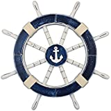 "Rustic Dark Blue Ship Wheel with Anchor 18"" - Anchor Decoration"