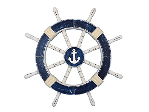 Cheap Rustic Dark Blue Ship Wheel with Anchor 18″ – Anchor Decoration