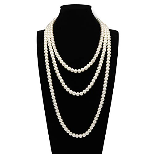 - T-Doreen Cream Long Pearl Necklace for Women Girls 69 Inch Layered Strands Necklace
