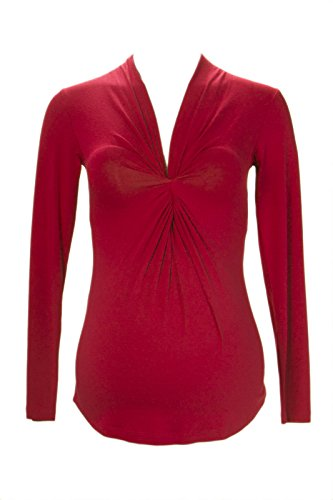 Olian Maternity Women's Twist Accent Long Sleeve Blouse X-Small Ruby ()