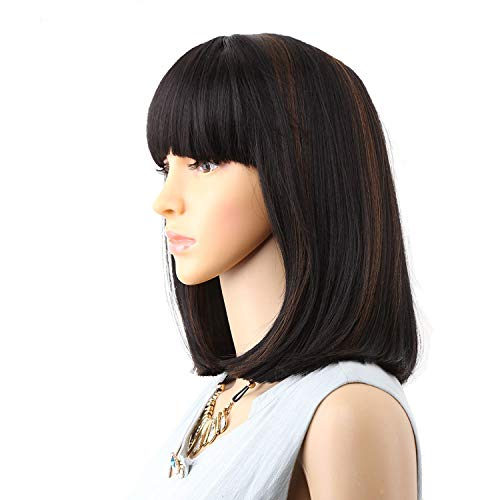 Straight Black Synthetic Wigs With Bangs For Women Medium Length Hair Bob Wig Heat Resistant bobo Hairstyle Cosplay wigs,P1B/30,14inches ()