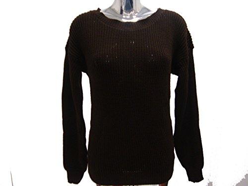 Señoras de las muchachas de acrílico grueso de cuello redondo Casual Top Jumper 8 -12 Marron oscuro