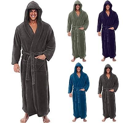 HULKAY Mens New Upgrade Fleece Solid Colored Robe, Long Hooded Bathrobe for Men