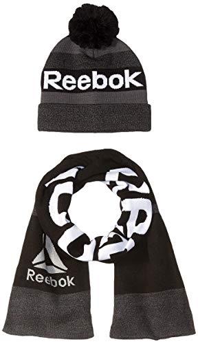 Reebok Men's Accessories Men's 2 Piece Beanie Pom Hat and Scarf Set, Black, One Size (Mens Reebok Hats)