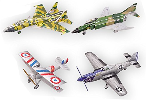 (Top Race 3D Puzzle, Fighter Jets Airplane Puzzle, No Glue, No Scissors, Easy to Assemble. Fighter History, Set of 4 Planes (91 Pieces))