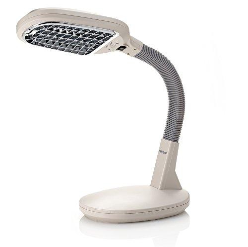 (Verilux Original Natural Spectrum Desk Lamp, Adjustable EasyFlex Gooseneck, Hi/Low Switch, Optix Glare-Control Diffuser, Ivory)
