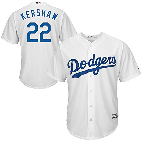Genuine Stuff Clayton Kershaw Los Angeles MLB Majestic Youth Boys 8-20 White Home Cool Base Replica Jersey (Youth Medium - White Dodgers Jersey Majestic Replica