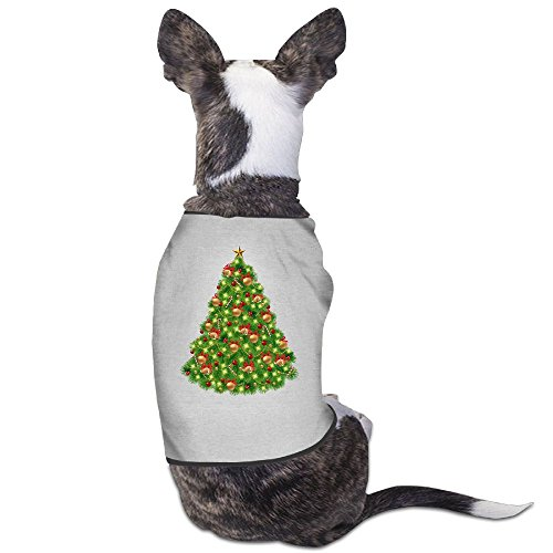 (Fonsisi Lovely Dog Shirts Christmas Tree Clipart Logo Pet Puppy Tank Top Vest Canine T-Shirt )
