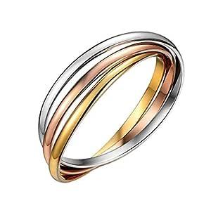 Stainless Steel Bangles Stackable 3 Tri color Silver, Rose Gold, Gold Bracelets