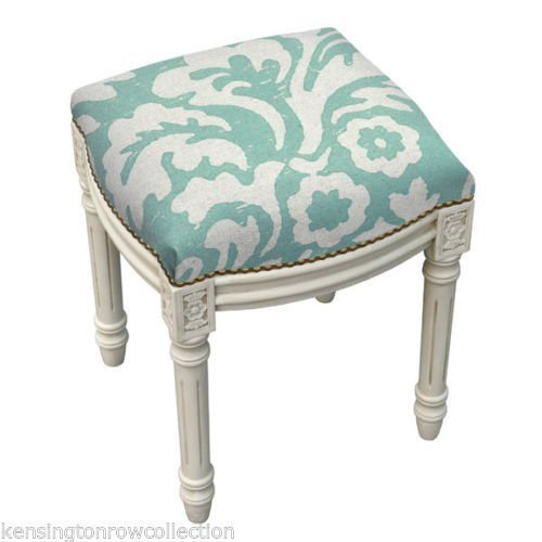 STOOLS - KENSINGTON GARDENS UPHOLSTERED STOOL - VANITY SEAT - AQUA BLUE (Kensington Bedroom Collection)