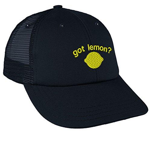 Speedy Pros Got Lemon Embroidery Design Low Crown Mesh Golf Snapback Hat Navy for $<!--$16.99-->