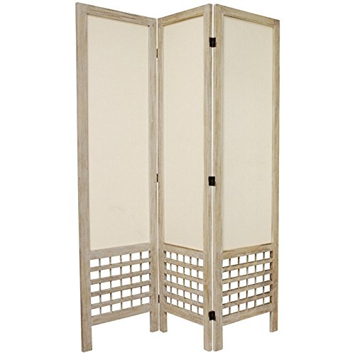 Oriental Furniture 5 1/2 ft. Tall Open Lattice Fabric Room Divider - Burnt White - 3 Panel