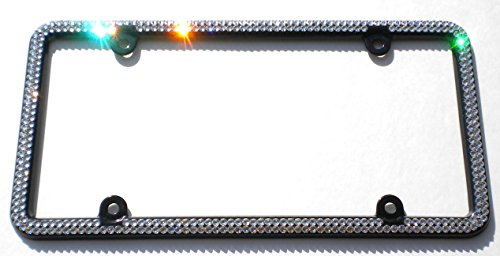 2 Row CRYSTAL License Plate Black Frame Rhinestone Bling with Swarovski Crystals -  Cool Blingz, SW2Crys20B