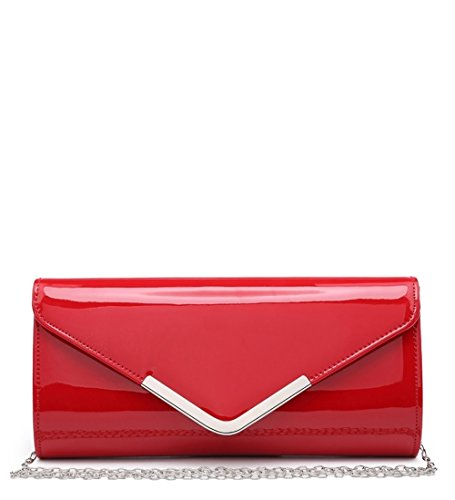Craze London NEW Women Envelope Style Evening Purse Wedding Prom Party Clutch Bag Red1