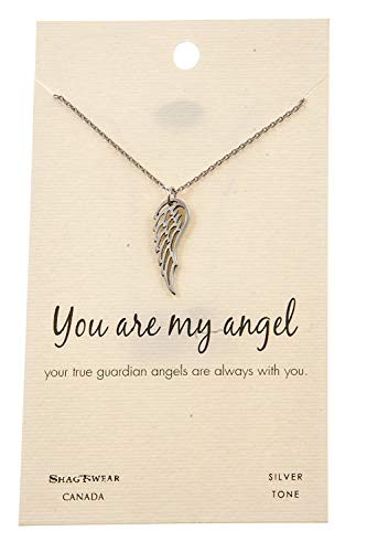 Shag Wear Faith and Belief Inspirations Quote Pendant Necklace (Angel Wing Pendant)