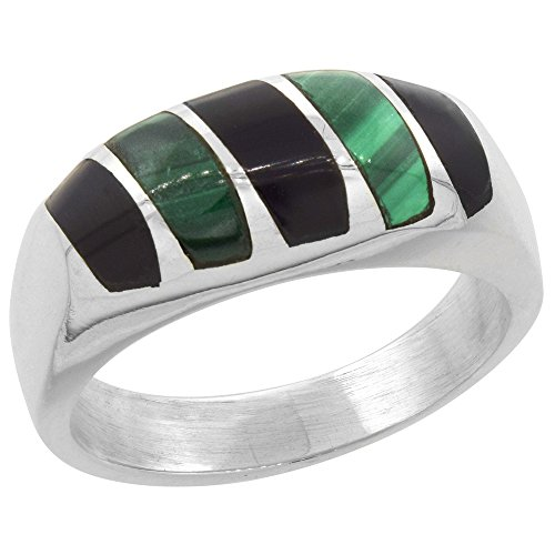 Sterling Silver Obsidian Malachite Vertical