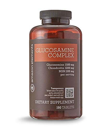 Amazon Elements Glucosamine Complex, Glucosamine Chondroitin MSM, 190 Tablets, 3 month supply
