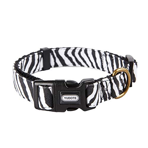 YUDOTE Dog Collars, Adjustable Pet Collars for Small Medium Large Dogs and Puppies, Zebra Pattern, Skin-Friendly Flocking, Well Made, Soft & - Zebra Skin New