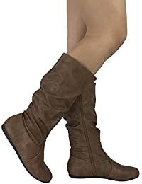 Womens & Girls Slouchy Wonda Boots Soft Flat to Low Heel Under Knee High
