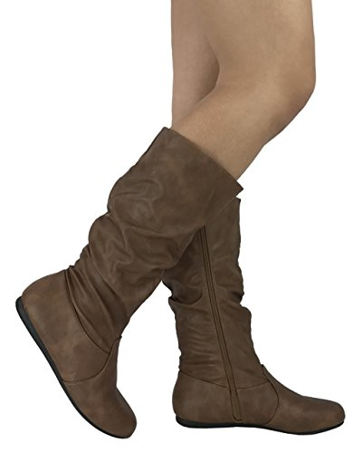 Womens Wonda Boots Soft Slouchy Flat To Low Heel Under Knee High, Tan PU, 6.5