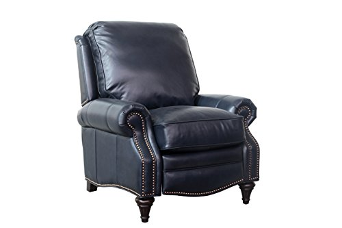 BarcaLounger Avery 7-2160 Push Back Manual Push Back Recliner Chair – 5700-47 Shoreham Blue All Leather with White Glove In-Home Delivery and Setup