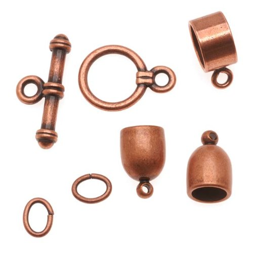 - BeadSmith Antiqued Copper Plated Bullet Findings Kit For Kumihimo -Fits 6mm Cord