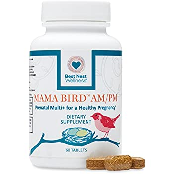 Mama Bird AM/PM Prenatal Multivitamin | Methylfolate (Folic Acid), Methylcobalamin (B12), 100% Natural Whole Food Organic Herbal Blend, Vegan, Twice Daily Prenatal Vitamin, 60 Count, Best Nest…