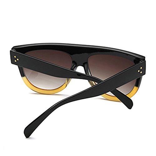 Designer Dessus Noir Shadow Plat Lunettes Kim femmes Style Celebrity rétro jaune soleil K de Hommes surdimensionné Shield 5rqqZwY4