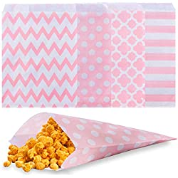 Biodegradable Paper Candy Cookie Bags, NUIBY Food Safe Favor Bags, Buffet Treat Bags for All Parties Loot Bags - 100 Counts, Assorted 4 Designs (pink)
