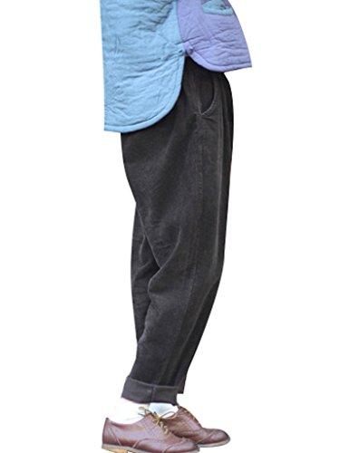 Youlee Mujer Cintura Elástica Pana Pantalones con Bolsillos Comal