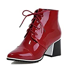 WeiPoot Women's Low-Top Lace-Up Patent Leather Kitten-Heels Pointed Closed Toe Boots