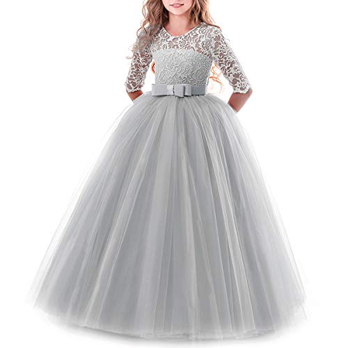 IBTOM CASTLE Spring Flower Girl Wedding Bridesmaid 3/4 Sleeves Kids Floral Lace Pageant Communion Princess Dress Prom Evening Dance Gown Gray 13-14 Years
