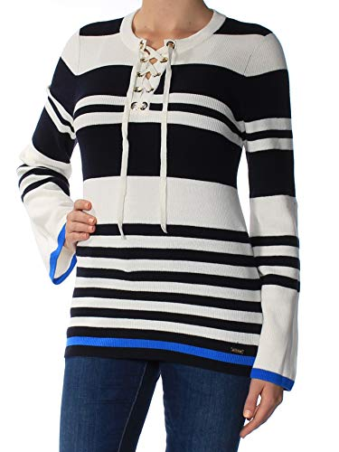 Tommy Hilfiger Womens Lace-Up Striped Pullover Sweater White - Stripe Hilfiger Tommy Sweater