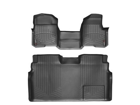 2009-2013 Ford F-150 SuperCrew Black Weathertech Floor Liner (Full Set: 1st & 2nd Row) [Over the Hump; Not Equipped with a Center Console]