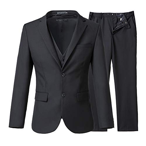 Yanlu Men's 3 Piece Slim Fit Suits 2 Buttons Wedding Groom Tuxedos