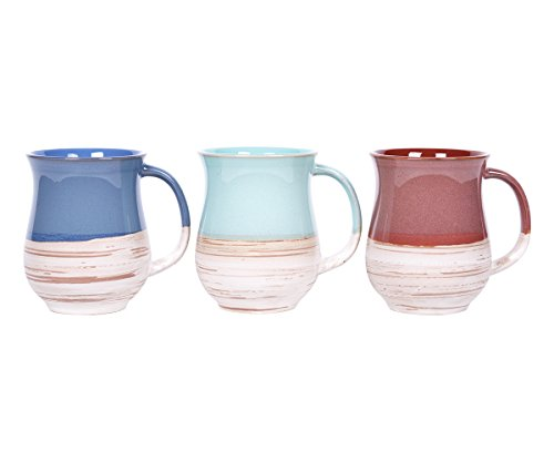 Blue Sky Ceramic 7313 Benjamin Hand Mugs, 18oz, Multicolor